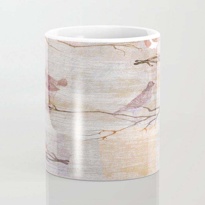 Golden Pink Birds Coffee Mug