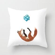 Blue Fox Throw Pillow