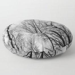 Creepy black and white trees Floor Pillow