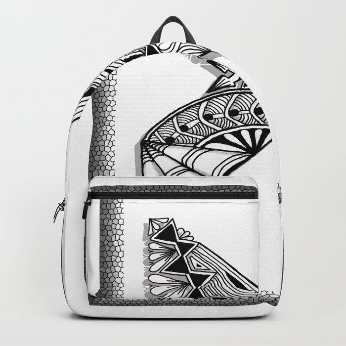 Zentangle X Monogram Alphabet Initial Backpack