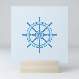 AFE Ship Wheel Light Blue, Nautical Art Print Mini Art Print