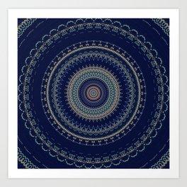 Dark Indigo Detailed Boho Mandala Art Print