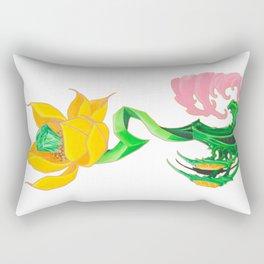 Green Diamond Mech Lotus Rectangular Pillow