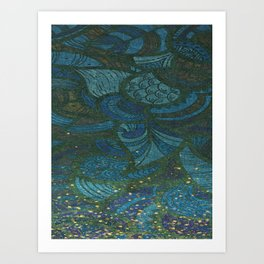 Paisley Leaf Abstract Pattern with Glitter Blue Green Aqua Art Print