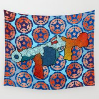 gun Wall Tapestries featuring Tommy Gun by Dusty Goods
