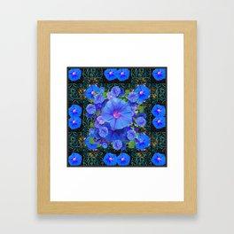 Modern Art  Blue Morning Glories Green Floral Framed Art Print