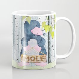 The busy Mole - Woodland Friends- Watercolor Illustration Coffee Mug