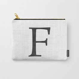 Letter F Initial Monogram Black and White Carry-All Pouch