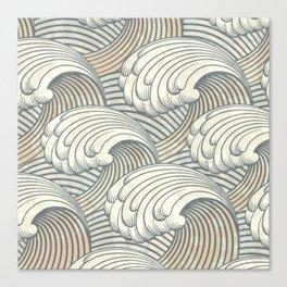 Ocean Waves Pattern Ancient Japan Art Canvas Print