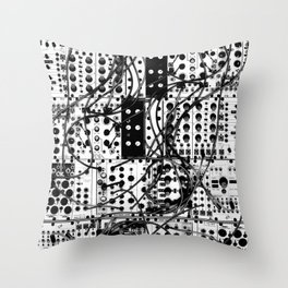analog synthesizer system - modular black and white Throw Pillow