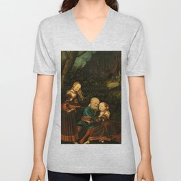 """Lucas Cranach the Elder """"Lot and his daughters"""" (Germany) Unisex V-Neck"""