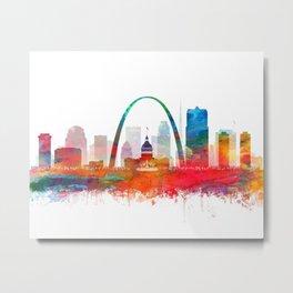 St Louis City Skyline Watercolor by zouzounioart Metal Print