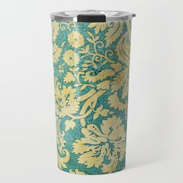 Vintage Antique Green and Gold Pattern Wallpaper Travel Mug