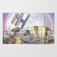 borderlands Area & Throw Rugs featuring WALL-E & CL4P-TP by JadeJonesArt