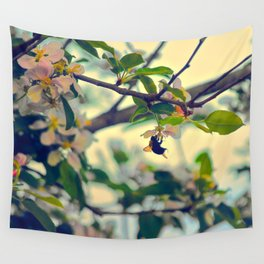 Bumble Bee Pollinating Apple Tree Wall Tapestry