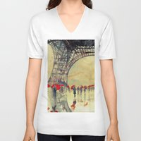 paris V-neck T-shirts featuring Winter in Paris by takmaj