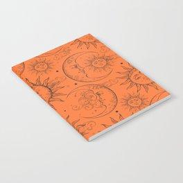 Orange Magic Celestial Sun Moon Stars Notebook