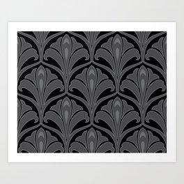 Aquaflora Black Art Print
