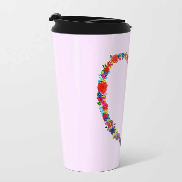 heart made of flowers on a pink background Travel Mug