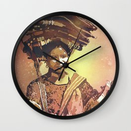 Watercolor painting of traditionally dressed woman at village in Antigua- Guatemala Wall Clock