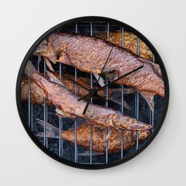 Smoked fish pike and roach Wall Clock