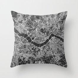 Seoul, South Korea street map Throw Pillow