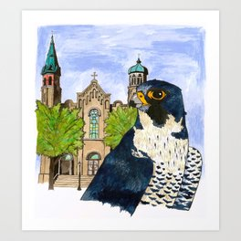 Peregrine Falcon with Old St Pat's Church Art Print