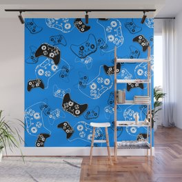 Video Game in Blue Wall Mural