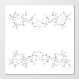Grayish Blue White Floral Border Canvas Print