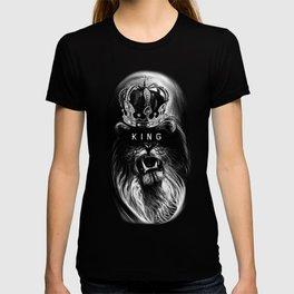Lion, Lionart, King, Animal, Black, Minimal, Interior, Black White,Wall art, Art Print,Trendy decor T-Shirt