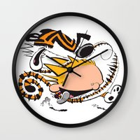 hobbes Wall Clocks featuring Calvin and Hobbes caricature design by Eric Goodwin