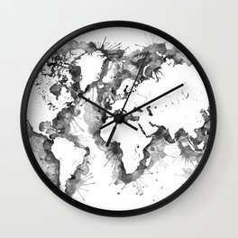 Watercolor splatters world map in grayscale Wall Clock