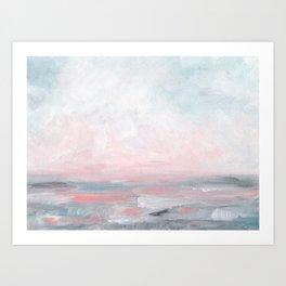 Stormy Seas - Gray & Pink Seascape Art Print