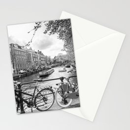 Bicycles parked on bridge over Amsterdam canal Stationery Cards