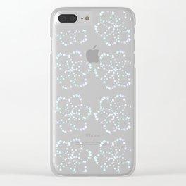 Blue Atomic Stars Clear iPhone Case