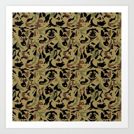 German Shepherd Camouflage Art Print