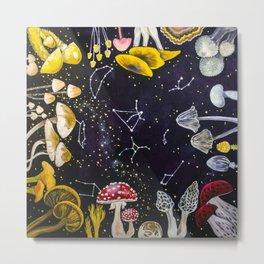Mushrooms and Stars Metal Print