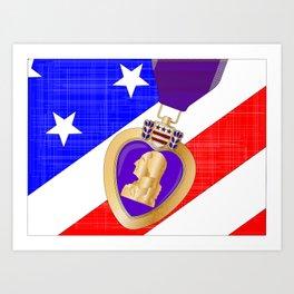 Flag and Purple Heart Art Print
