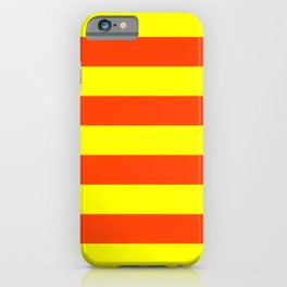 Bright Neon Orange and Yellow Horizontal Cabana Tent Stripes iPhone Case