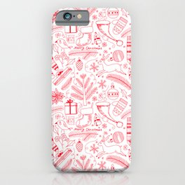 Doodle Christmas pattern red iPhone Case