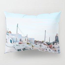 Santorini Greece Ligh Blue Sky Pillow Sham