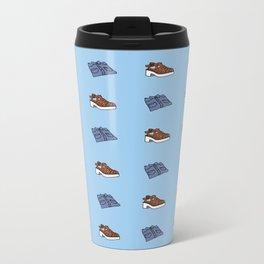 Shirt n Shoe Repeat Print- Blue Metal Travel Mug