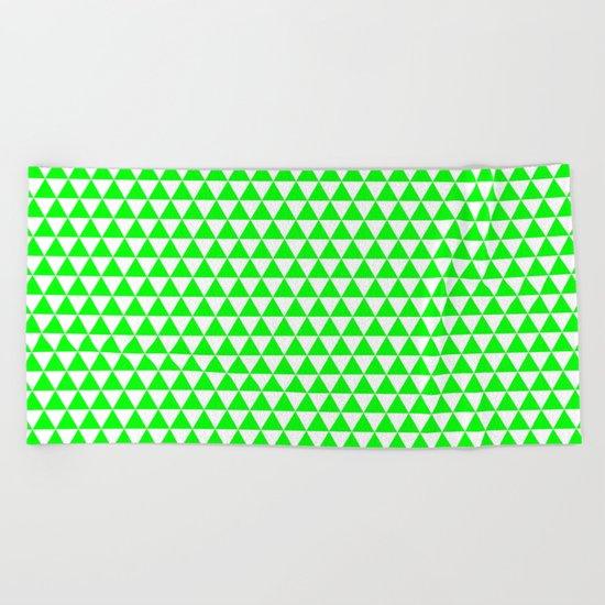 Triangles (Green/White) Beach Towel