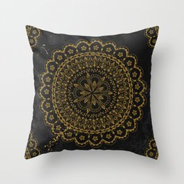 Black and gold moroccan mandala Throw Pillow