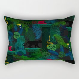 Animals in the jungle on the ruins Rectangular Pillow