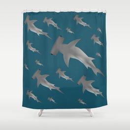 Hammerhead shark school Shower Curtain