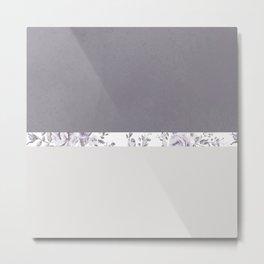 Mauve Gray Floral stripe pattern Metal Print
