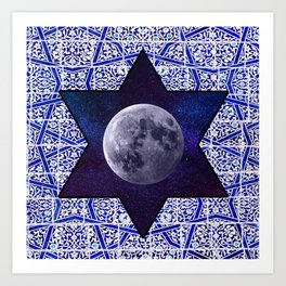 Moon star Art Print