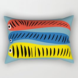Fishes Red Blue and Yellow illustration for Kids Rectangular Pillow