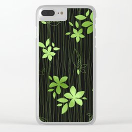Colorful Art Deco Green Flower Pattern Clear iPhone Case